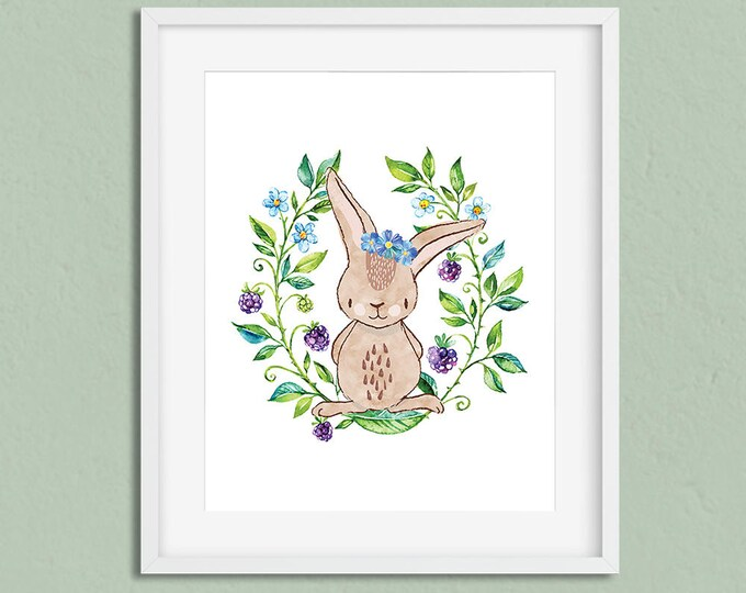 "Rabbit print, bunny print, nursery art, woodland animal print, nursery decor, wall art, instant download, 8""x10"""