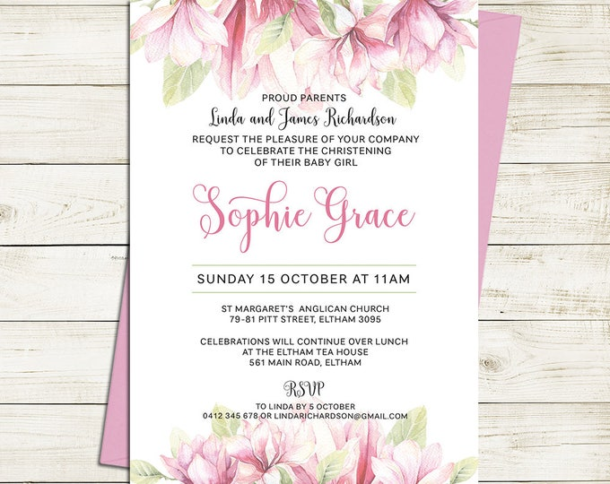 Christening invitation, Baptism invitation, naming invitation, baby girl, floral, magnolias, pink and green, digital customised printable