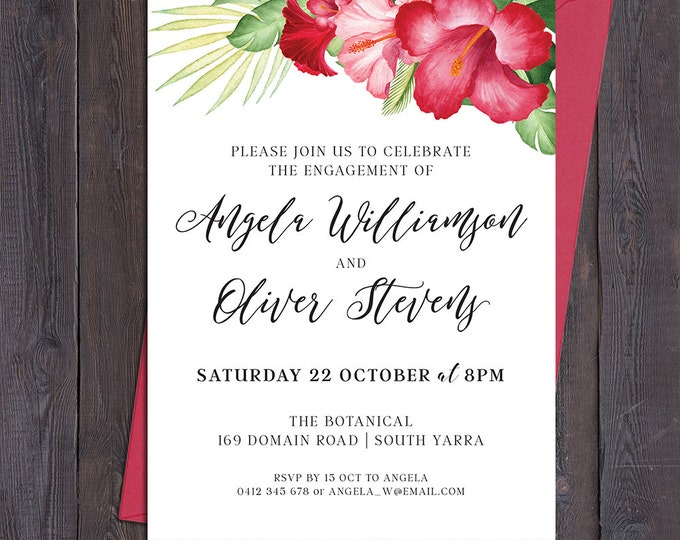 Tropical invitation, red hibiscus flowers, for any occasion - engagement, bridal or baby shower, save the date, wedding, digital printable
