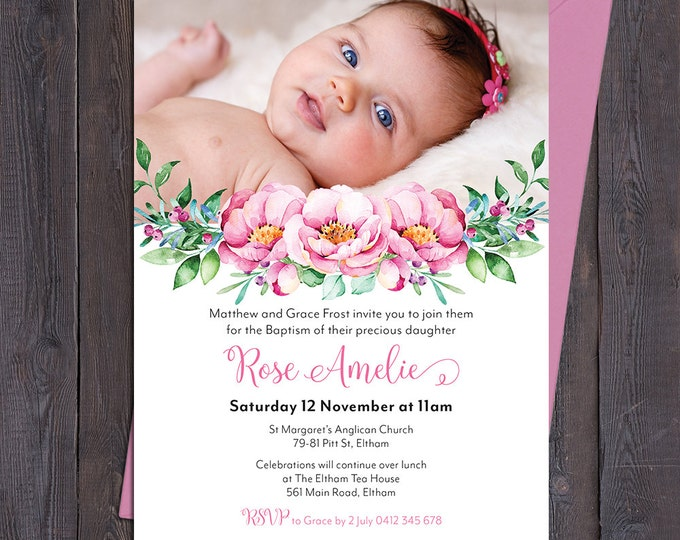 Christening invitation, Baptism invitation, naming invitation, girl, photo and pretty pink watercolour florals, digital customised printable
