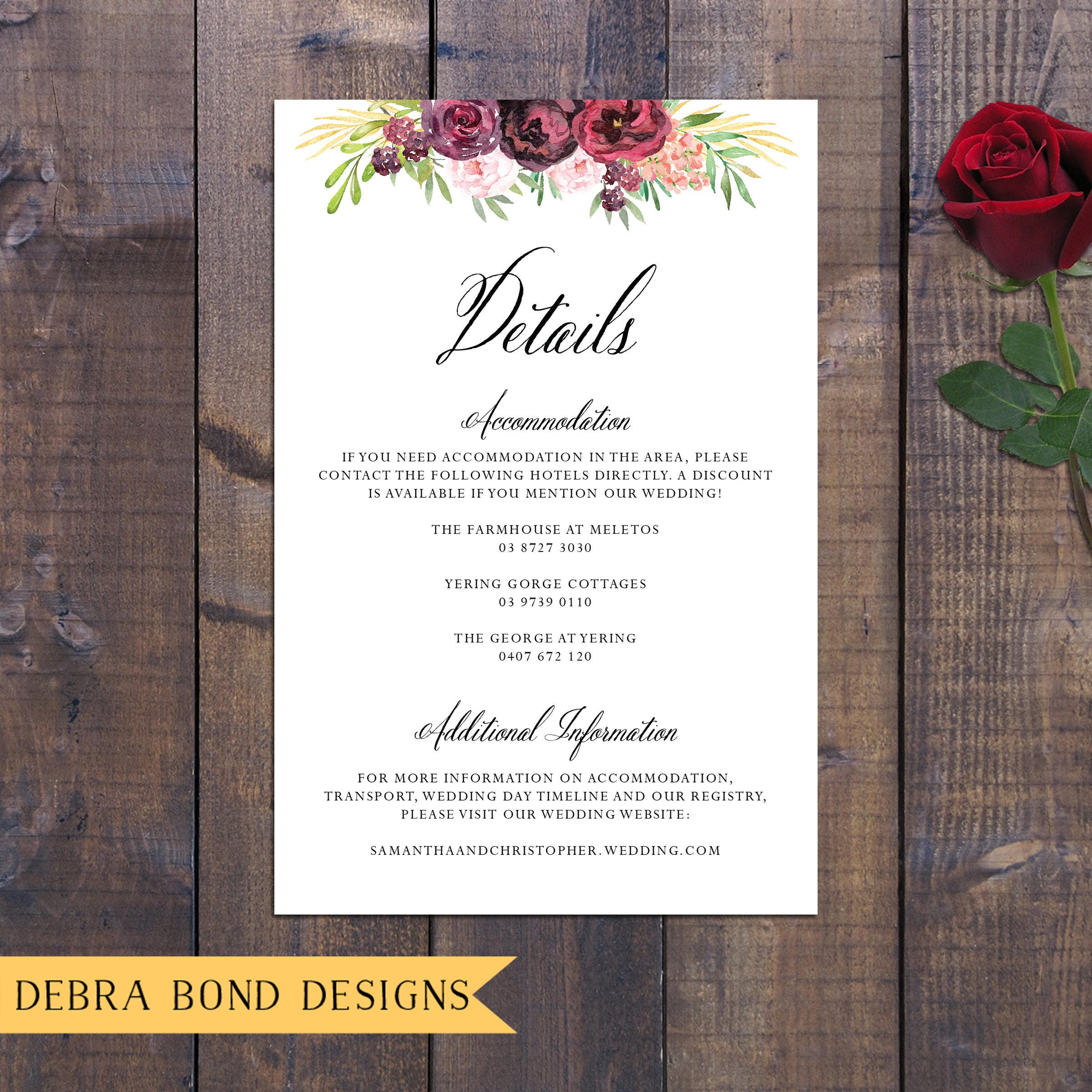 Wedding suite, wedding invitation, marsala burgundy dark roses ...