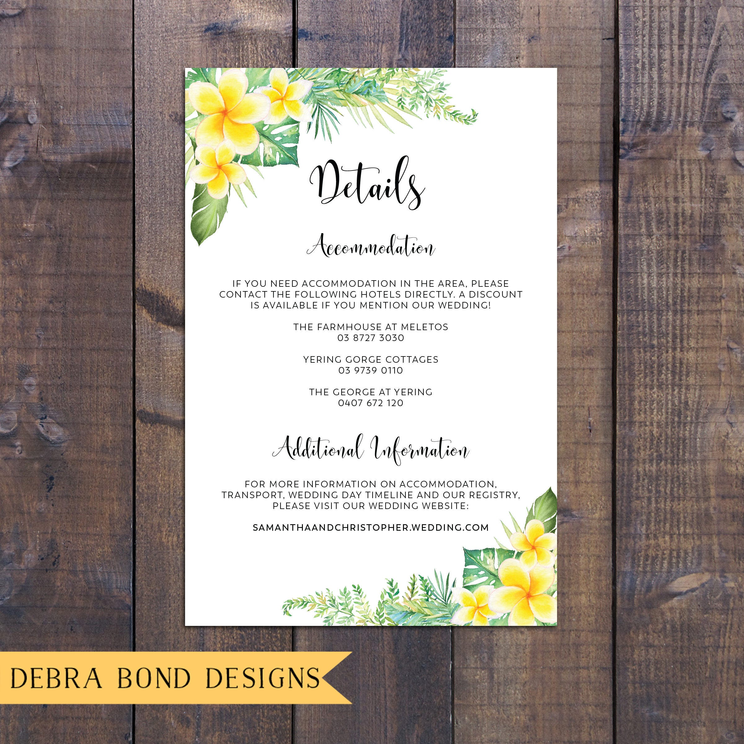 Wedding suite, wedding invitation, tropical, frangipani plumeria ...