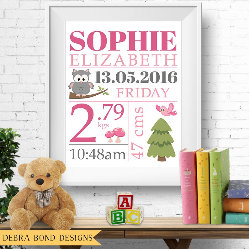 Birth stats print wall art birth announcement poster birth image 0