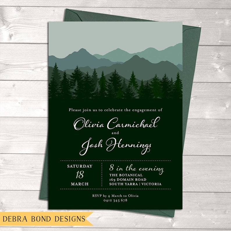 Engagement invitation wedding invitation mountain image 0