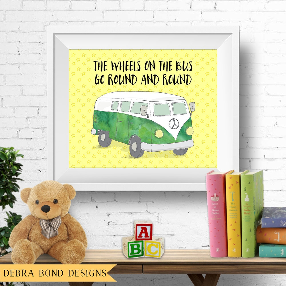 Printable nursery wall art, the wheels on the bus, VW kombi van, vw ...