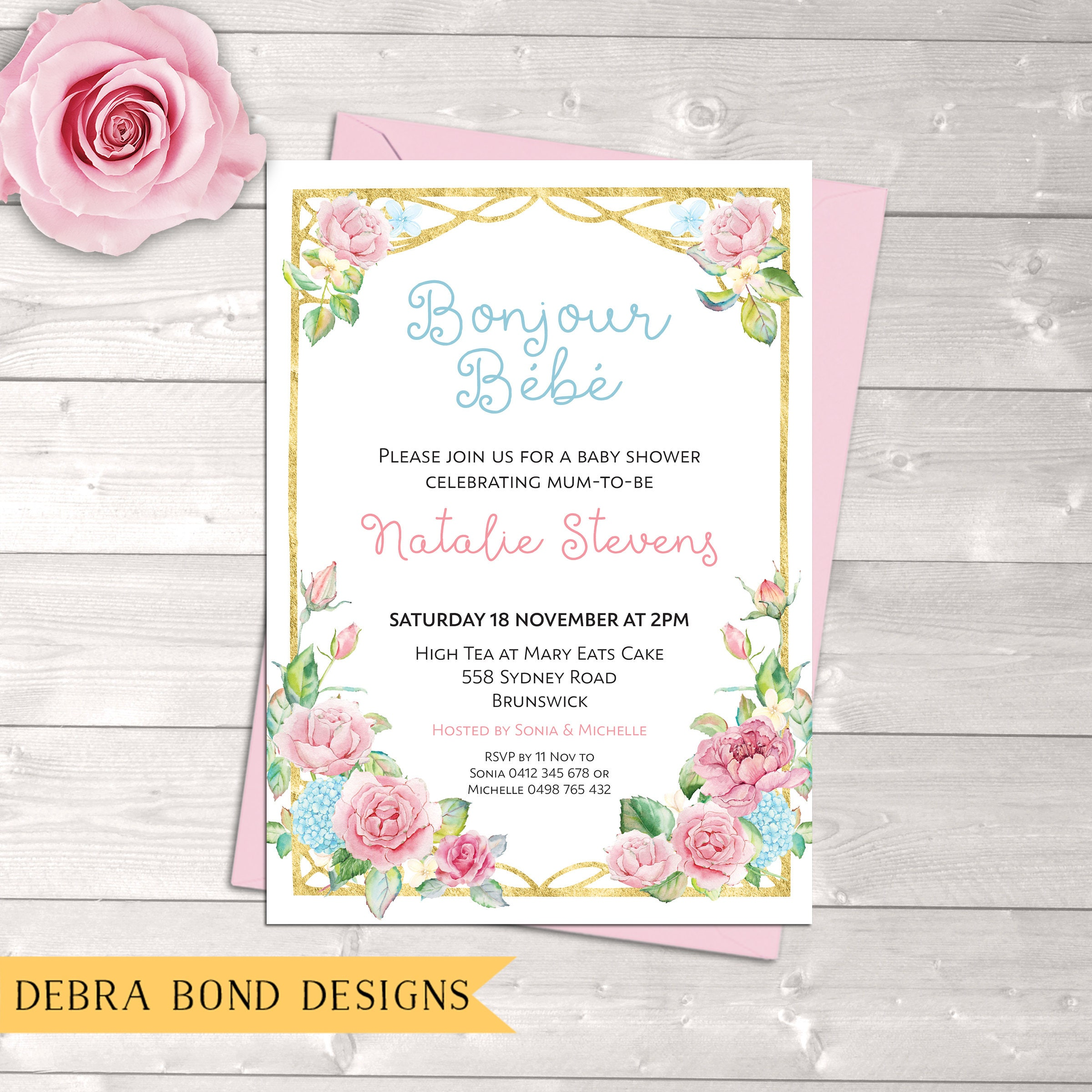 Baby Shower Invitation French Bonjour Bebe French Baby Shower