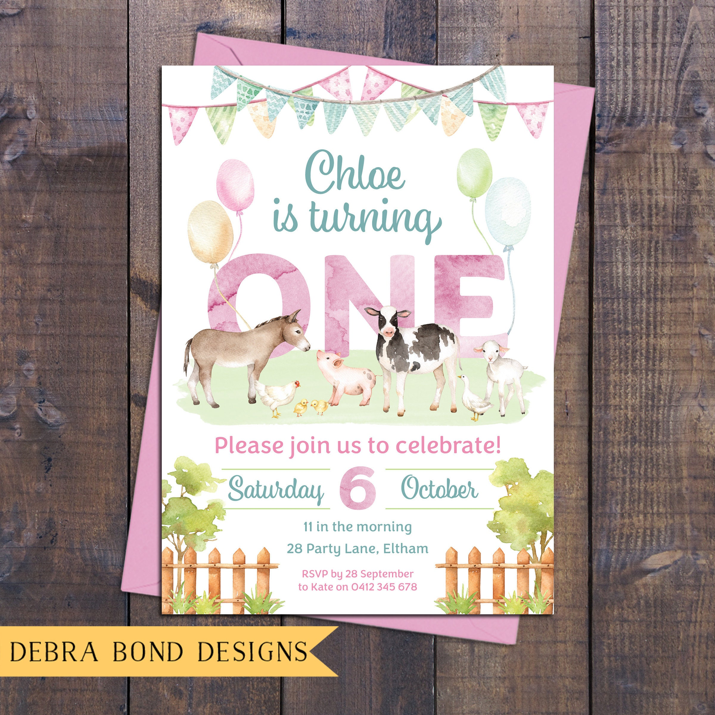 Farm invitation, birthday invitation girl, farm animals, petting zoo ...