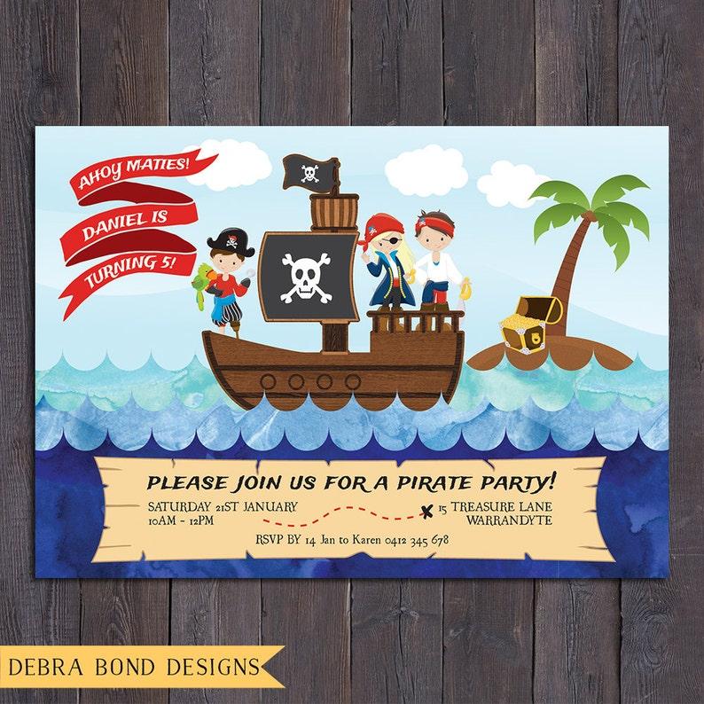Pirate birthday invitation boy digital printable pirate image 0