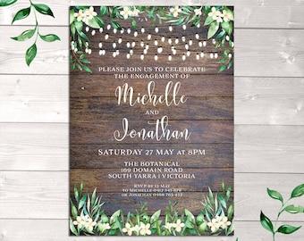 Rustic invitation, engagement invitation, wedding, string lights, wood watercolour flowers leaves, rustic engagement invitation, printable