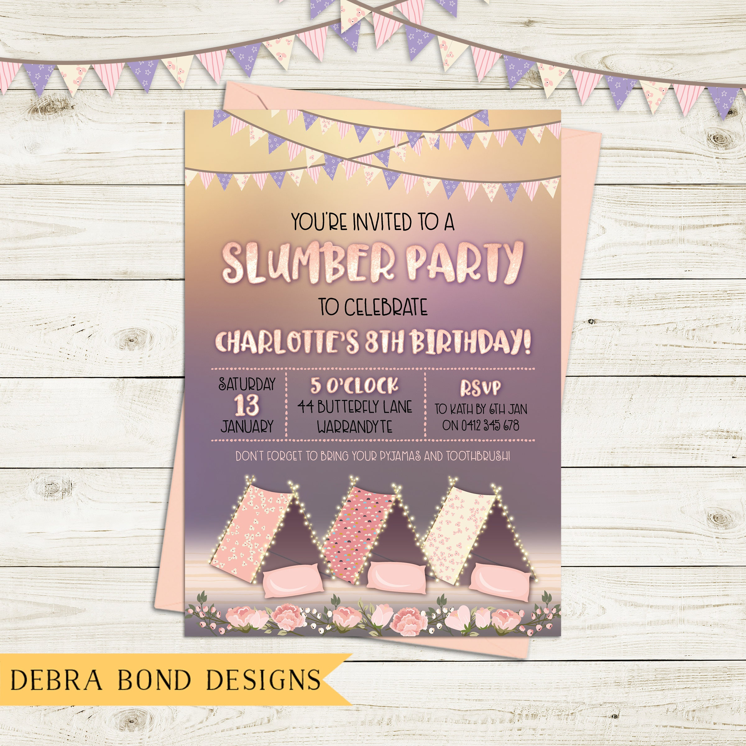 Slumber party invitation, sleepover, birthday invitation, girl ...