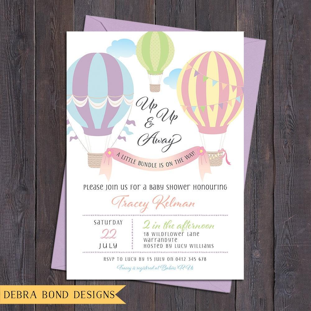 Baby Shower Invitation Hot Air Balloons Baby Shower Invite Pastel