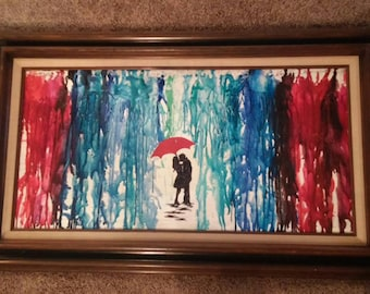 Crayon art on canvas with frame