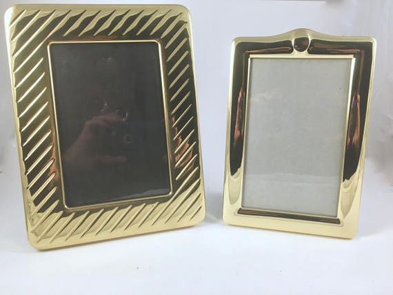Brass Picture Frames Vintage 2 Photo Frames Free Standing Etsy