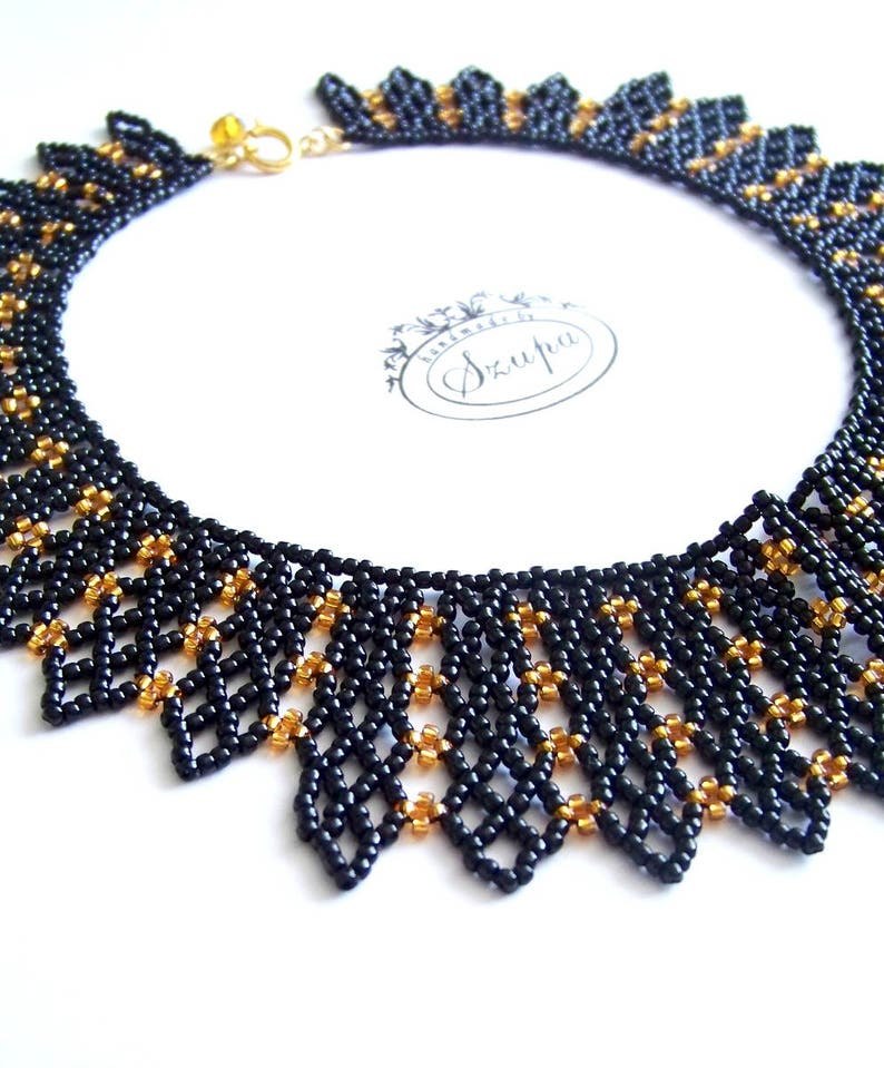 black collar necklace Victorian necklace for women RBG necklace bib black necklace beadwoven necklace statement necklace