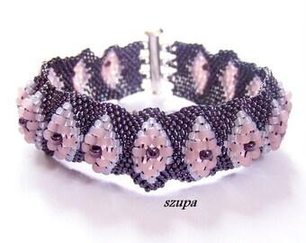 Purple beaded bracelet, seed bead bracelet, cuff bracelet, handmade bracelet, woven bracelet, gift for her, original bracelet, women bracele