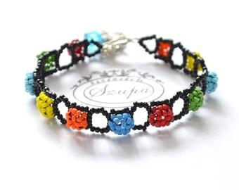 Colorful handmade bracelet, woven bracelet, beaded bracelet, gift for her, black bracelet, seed bead bracelet, beaded jewelry,