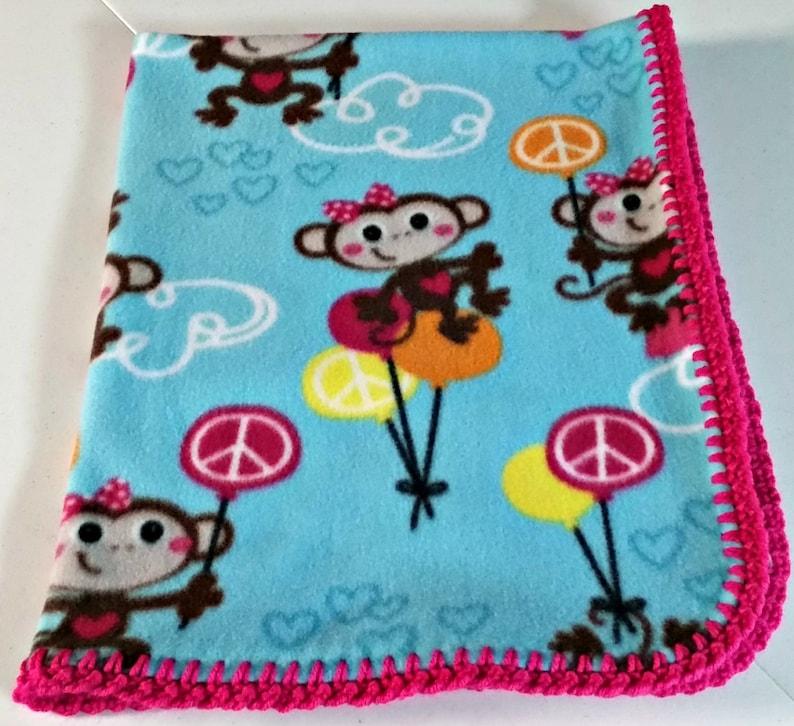Crochet Edged Fleece New Baby Gift Fleece Baby Blanket Baby Shower Gift Coworker Gift New Mom Gift Monkey Blanket Kids Birthday Gift