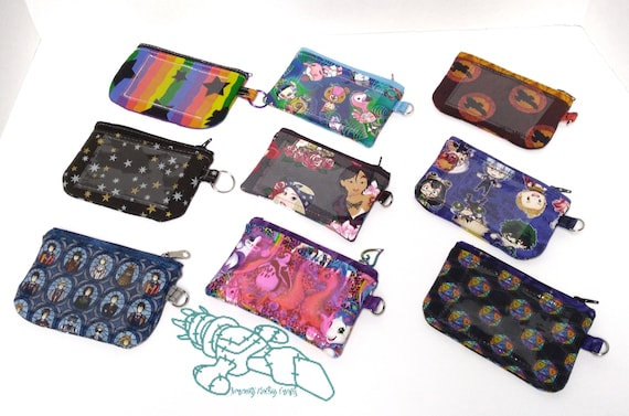 MHA Coin Purse ID Wallet Who Animals Zip It Janice ID Pouch Badge Pouch Neon Colors Firefly D20Handmade Stars Princess Rainbow