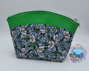 Stained Glass Anemone Zipper Pouch, Makeup Bag, Blue Floral, Essentials Bag, Toiletries Bag, Project Pouch, Catch-all, Unique Gift