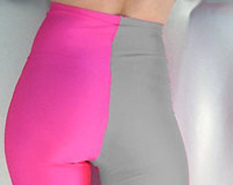 6345421fb19e4a Two tone high waisted spandex leggings neon pink silver grey