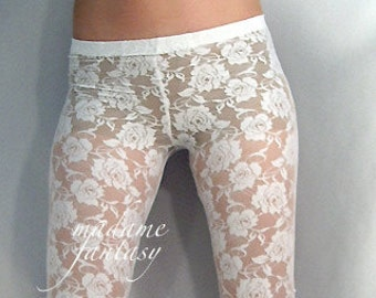 White or black lace leggings