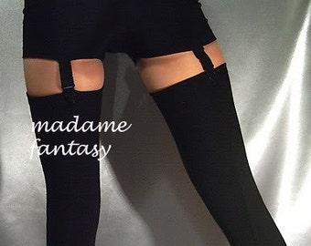 Black Ribbed Spandex Stockings