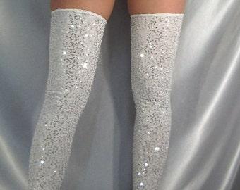 deed9041ee5 Sequin footless stockings   leg warmers Black White Red
