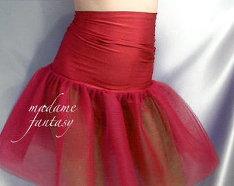 High waisted red tutu skirt wide spandex top