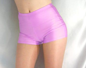 Retro style high waisted shiny spandex shorts hot pants baby pink