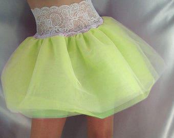 Lace top tutu skirt white top neon yellow net