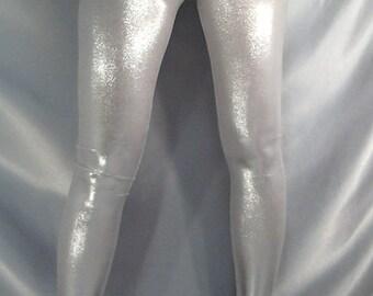 defc41021d432 Metallic Shiny Leggings Silver Gold