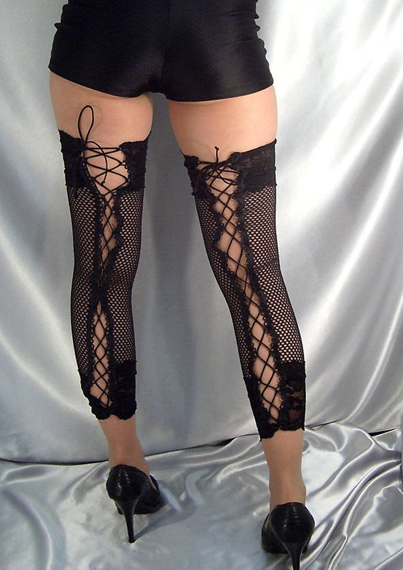 0dd0d49f0 Black lace up net footless stocking lace top leg warmers