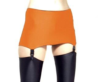 Shiny Spandex Orange ziehen am Strapsgürtel