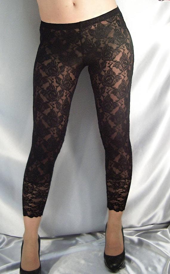 Black lace leggings lace cuffs