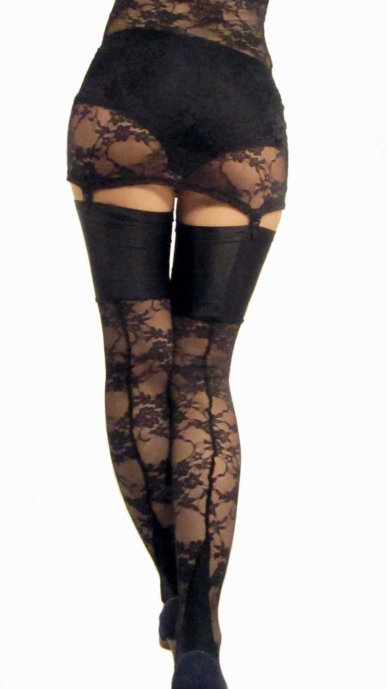 f696cef366f Black seamed cuban heel lace stockings with spandex top