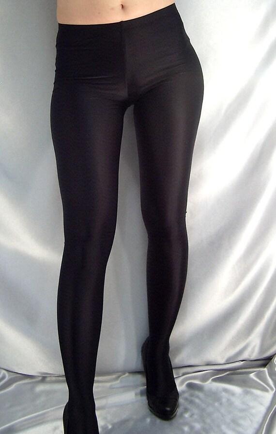 Thin Shiny Black Footed Spandex Leggings Tights Etsy