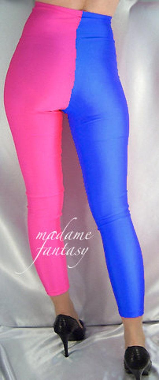 Deux tons de bleu royal de haute taille haute spandex leggings rose fluo