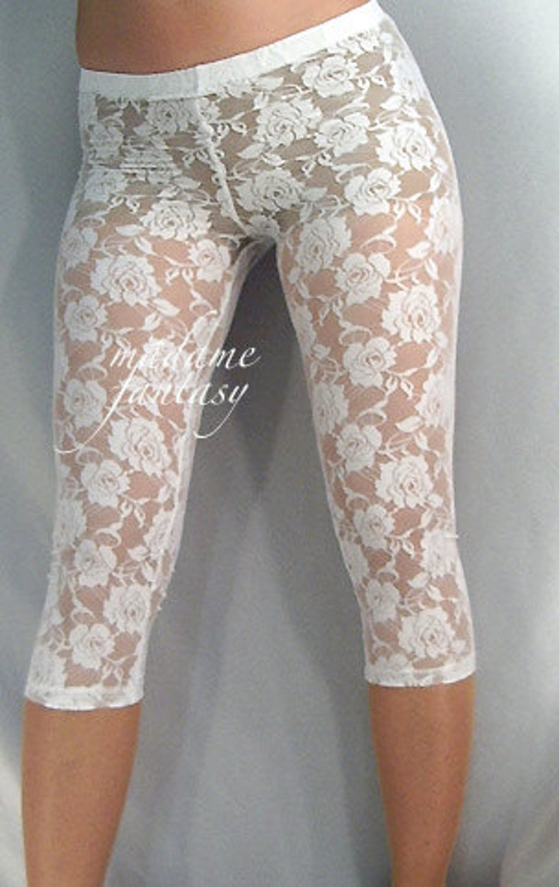 4e3868e85d642 Short white or black lace leggings | Etsy