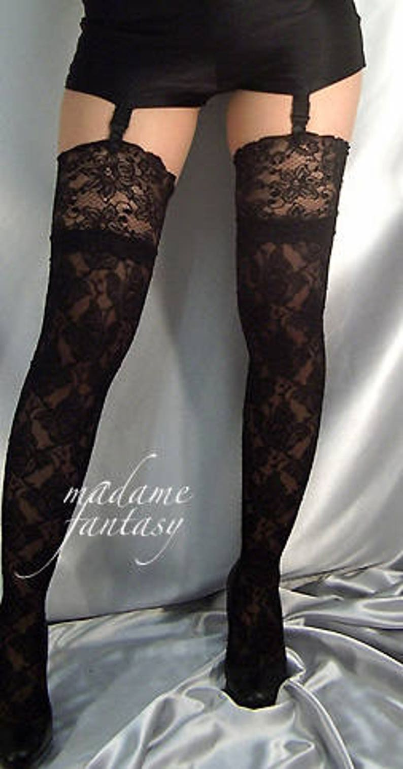 8ee67ddd9 Black lace top stockings