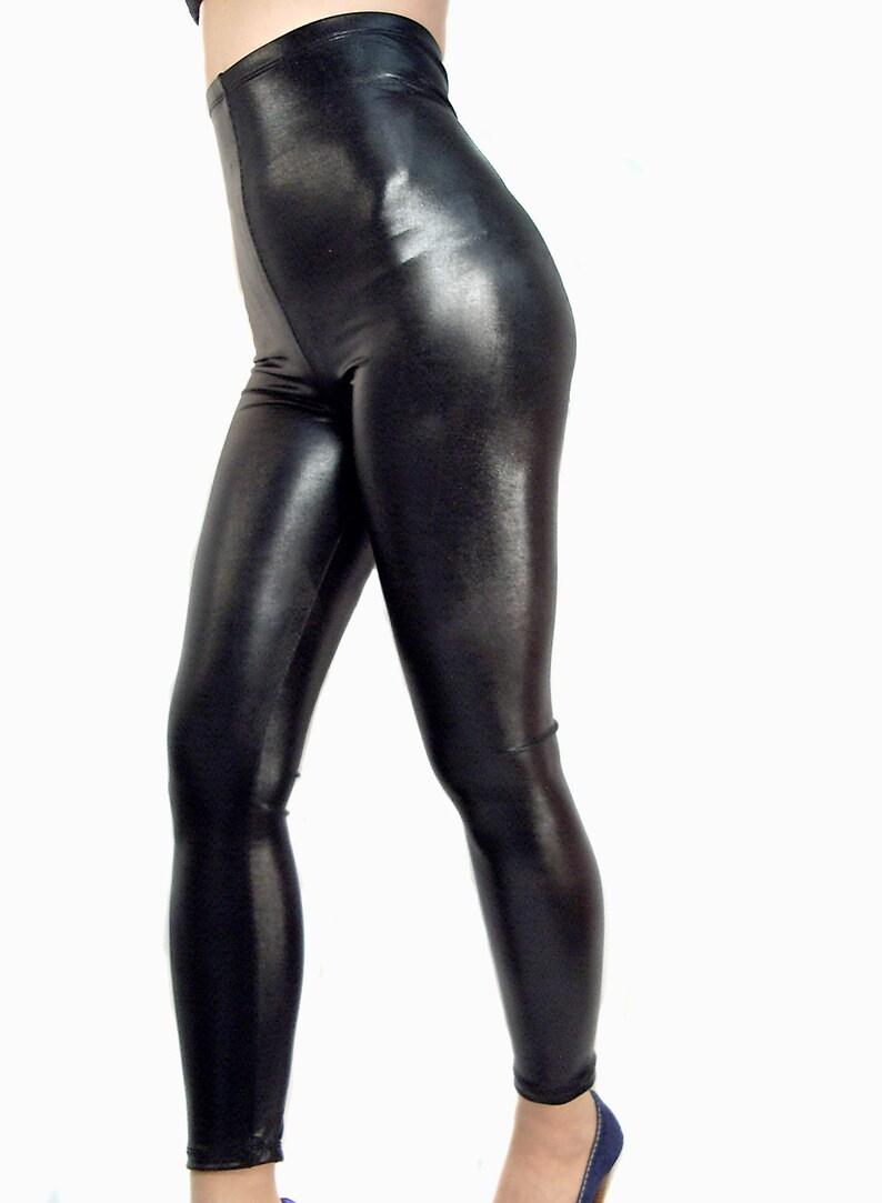 83e3d3f333bf4b High waisted shiny wet look spandex leggings Goth Clubwear | Etsy