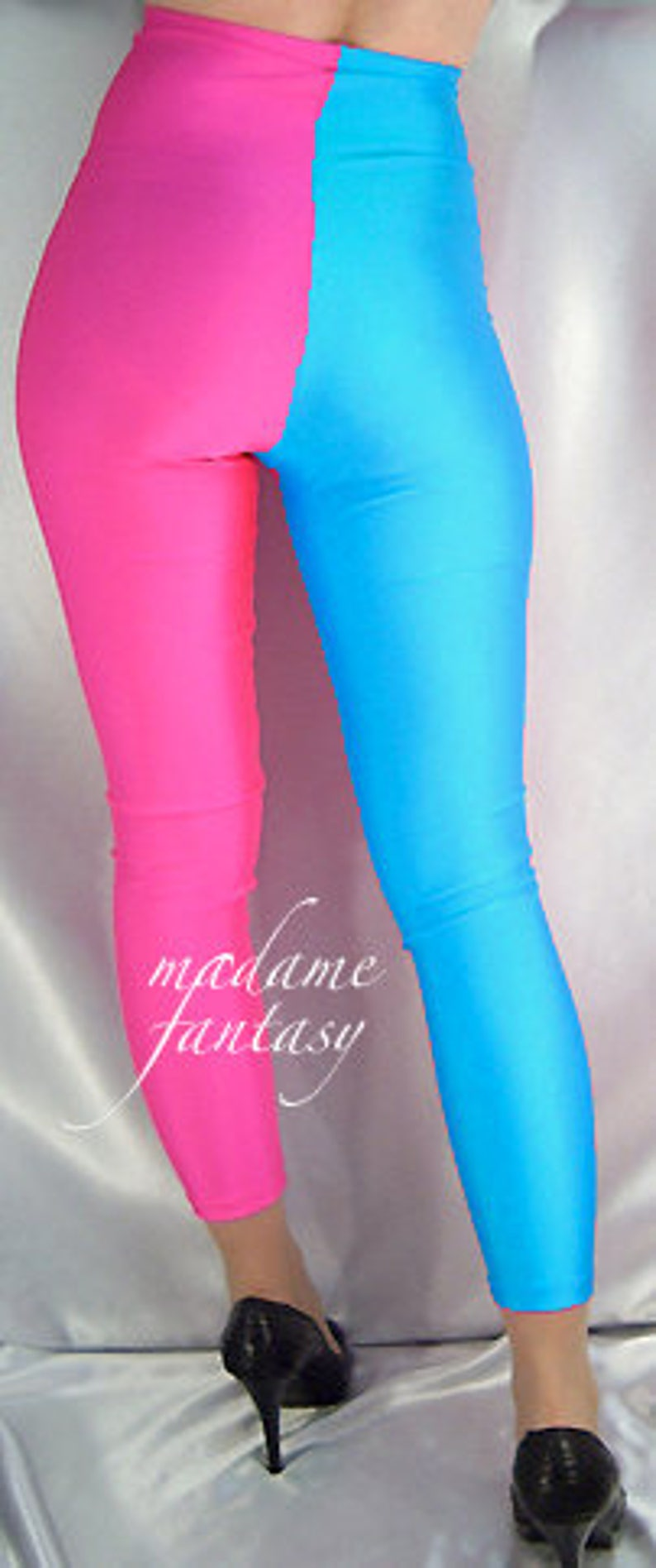 Two tone high waisted spandex leggings neon pink turquoise