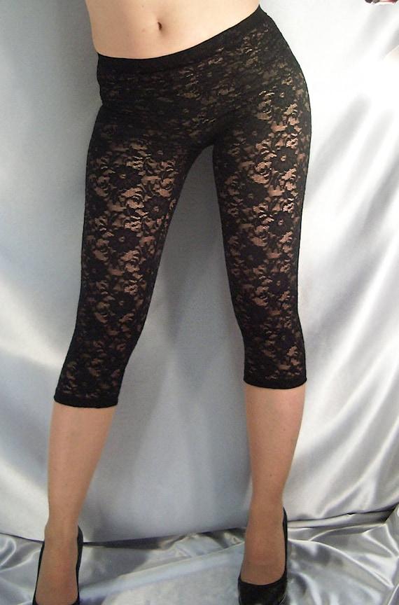 wholesale price crazy price presenting Leggings en dentelle noire courte