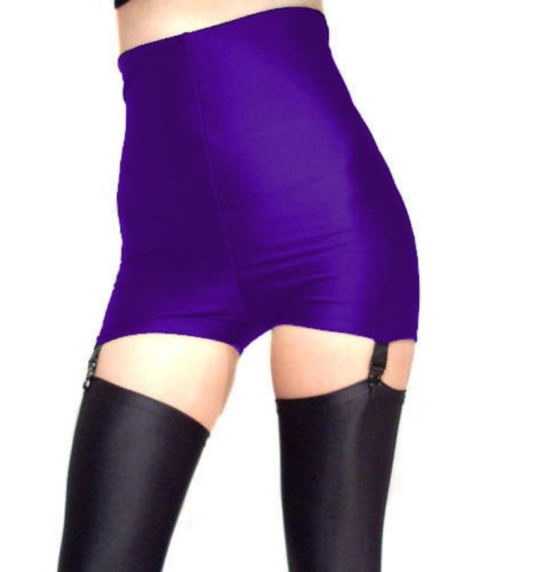 9f224b567ec High waisted spandex black suspender shorts hot pants dark