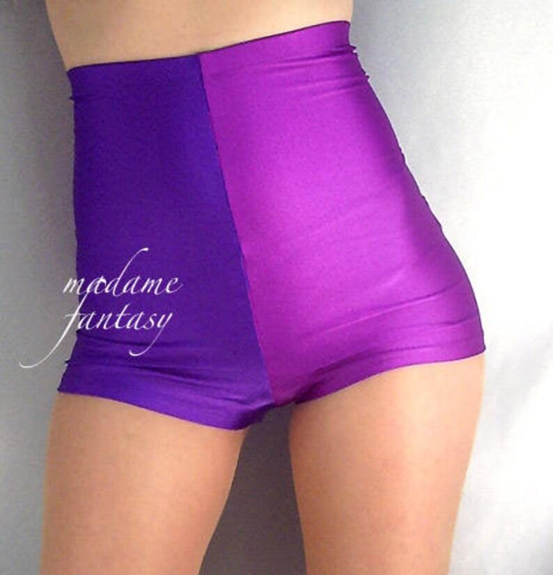 140b54e5506 Two tone high waisted shiny spandex shorts hot pants purple