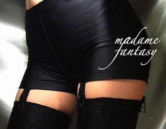 MADAME FANTASY CRUSHED VELOUR SHORTS HOT PANTS SUSPENDERS BLACK XS-XXXL