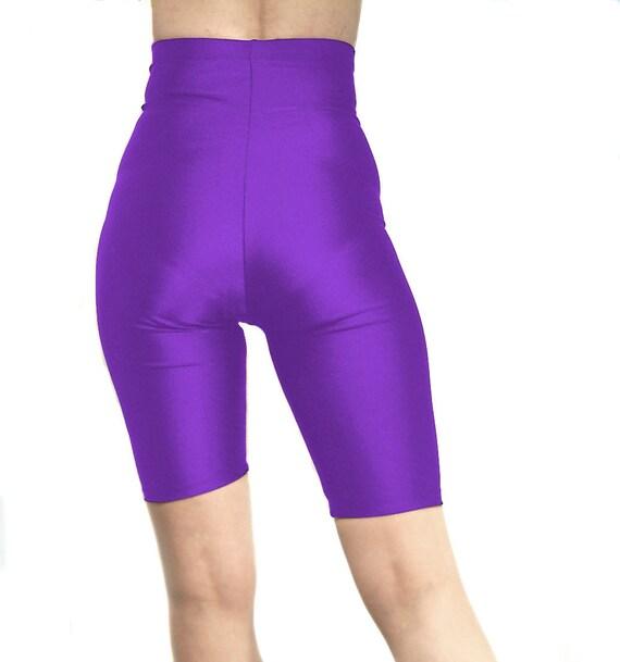 High waisted spandex black suspender shorts hot pants dark purple