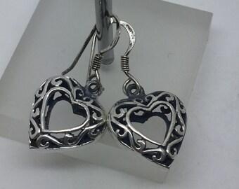 silver dangle heart earrings,silver drop earrings,silver jewelry,ethnic earrings,gypsy earrings,drop earrings,silver jewelry,boho earrings