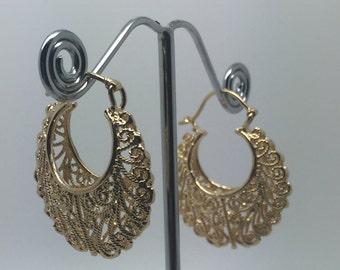 gold plated hoop lace earrings,gold hoop earrings,gold jewelry,boho earrings,etnic earrings,gypsy earrings,bohemian jewelry,ethnic earrings