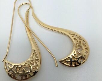 14k gold plated dangle earrings,ethnic earrings,gold earrings,gypsy earrings,boho earrings,hoop earrings,lace earrings,gold plated earrings