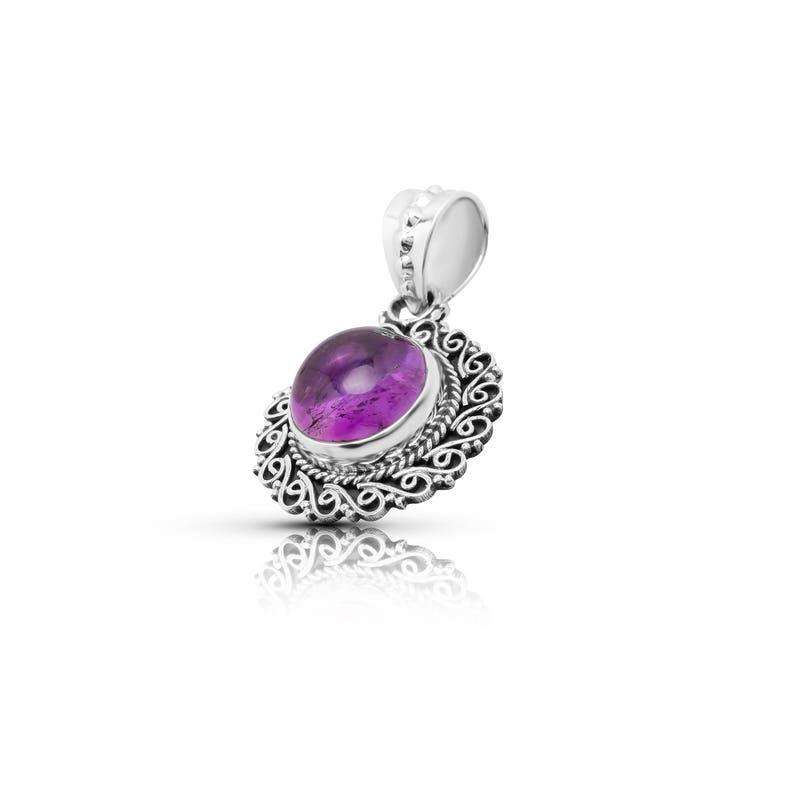 silver amethyst pendant,amethyst stone jewelry,amethyst necklace,birthstone jewelry,gemstone pendant,bohemian tribal pendant,ethnic jewelry